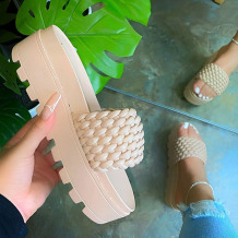 Cream White Fashion Street Split Joint Opend Out Door Shoes