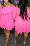 Rose Red Fashion Sexy Bateau Neck Long Sleeve Ruffle Sleeve Solid Plus Size Dress