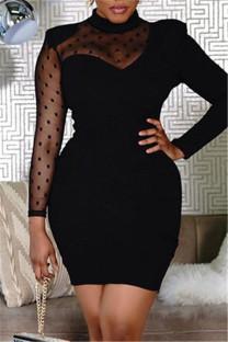 Black Fashion Solid Split Joint See-through Half A Turtleneck Long Sleeve Dresses