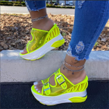 Fluorescent Yellow Casual Street Hollowed Out Split Joint Opend Out Door Shoes