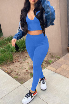 Sky Blue Casual Sportswear Solid Vests Pants Sleeveless Two Pieces