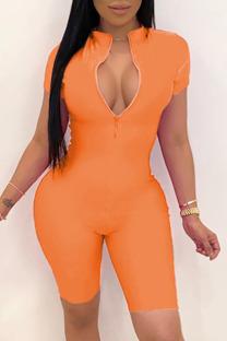 Orange Fashion Celebrities adult Ma'am O Neck Solid Plus Size