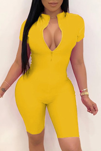 Yellow Fashion Celebrities adult Ma'am O Neck Solid Plus Size