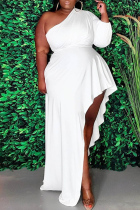 White Fashion Casual Plus Size Solid Asymmetrical Oblique Collar Long Sleeve Dresses