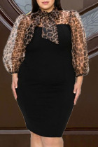 Black Sexy Leopard Split Joint See-through Ribbon Collar Wrapped Skirt Plus Size Dresses