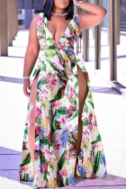 Colour Sexy Print High Opening V Neck Plus Size Dresses