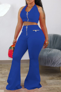 Blue Fashion Sexy adult Ma'am Solid Two Piece Suits Loose Sleeveless Two Pieces