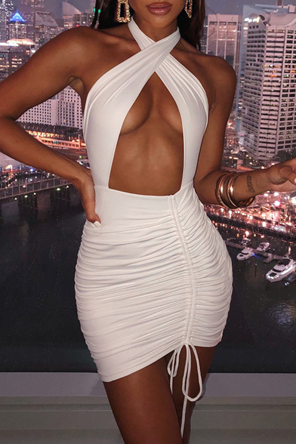 White Sexy Solid Split Joint Draw String Halter Pencil Skirt Dresses