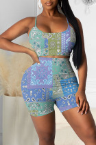 Blue Casual Print Split Joint Spaghetti Strap Two Pieces