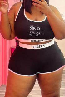 Black Street Print Split Joint U Neck Plus Size Swimwear