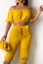 Yellow Casual Solid Split Joint Strapless Sleeveless Two Pieces
