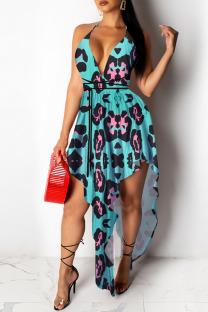 Leopard Print Sexy Print Asymmetrical Spaghetti Strap A Line Dresses