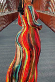 Grey Sexy Long Sleeves O neck Step Skirt Ankle-Length Striped Print Dresses