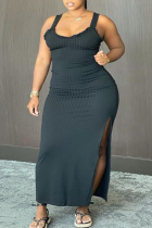 Black Sexy Casual Plus Size Solid Slit Square Collar Vest Dress