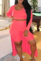 Fluorescent Pink Fashion Casual Solid Basic O Neck Plus Size Three-piece Set