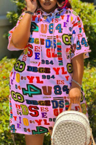 Pink Fashion Casual Plus Size Letter Print Basic Hooded Collar Short Sleeve Dress