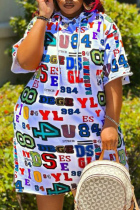 White Fashion Casual Plus Size Letter Print Basic Hooded Collar Short Sleeve Dress