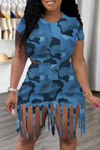 Blue Fashion Casual Camouflage Print Tassel O Neck Short Sleeve Two Pieces