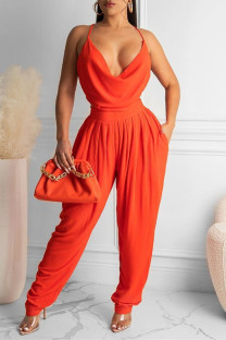 Tangerine Red Sexy Casual Solid Backless Spaghetti Strap Regular Jumpsuits