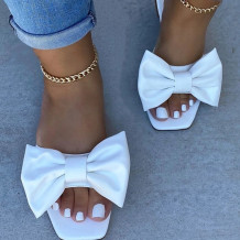 White Fashion Casual Solid Color With Bow Square Comfortable Slippers