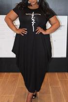 Black Casual Print Split Joint Asymmetrical O Neck Short Sleeve Dress Plus Size Dresses