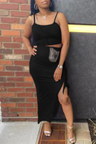 Black Sexy Casual Solid Slit Spaghetti Strap Sleeveless Two Pieces