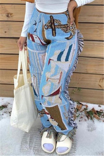 Baby Blue Fashion Casual Print Tassel Regular Mid Waist Trousers