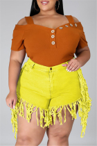 Yellow Fashion Casual Solid Tassel Plus Size Jeans