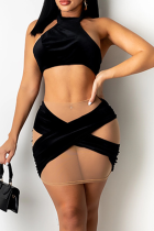 Black Sexy Patchwork Mesh Halter Sleeveless Two Pieces