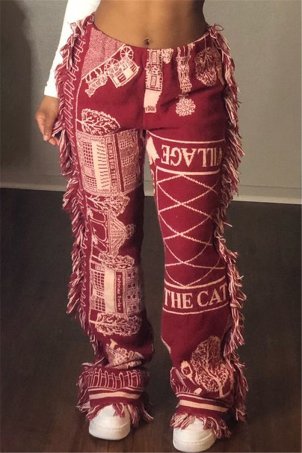 Red Fashion Casual Print Tassel Regular Mid Waist Trousers