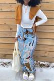 Multicolor Fashion Casual Print Tassel Regular Mid Waist Trousers