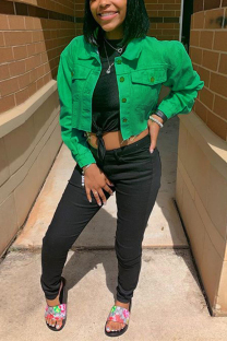 Green Street Style Solid Denim Jacket (Only Jacket)