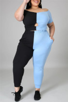 Blue Fashion Casual Patchwork Hollowed Out Off the Shoulder Plus Size Two Pieces