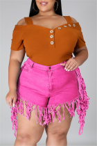 Rose Red Fashion Casual Solid Tassel Plus Size Jeans