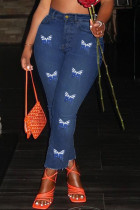 Deep Blue Fashion Casual Butterfly Print Basic Plus Size Jeans