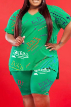 Green Fashion Casual Print Slit V Neck Plus Size Two Pieces