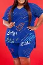 Blue Fashion Casual Print Slit V Neck Plus Size Two Pieces