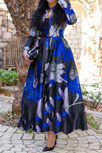 Blue Fashion Print Basic Turndown Collar Long Sleeve Dresses