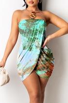 Green Sexy Casual Print Split Joint Asymmetrical Strapless Pencil Skirt Dresses