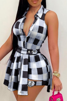 Black Casual Plaid Split Joint Turndown Collar Sleeveless Two Pieces