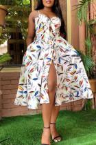 White Fashion Sexy Print Backless Slit Spaghetti Strap Sleeveless Dress