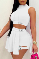 White Casual Solid Split Joint O Neck Sleeveless Two Pieces
