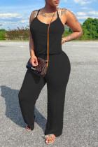 Black Casual Solid Basic Spaghetti Strap Regular Jumpsuits