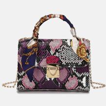 Purple Fashion Casual Animal Print Chains Shoulder Messenger Bag