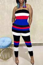 Blue Fashion Sexy Striped Print Backless Strapless Regular Jumpsuits