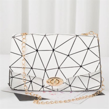 White Fashion Casual Print Chains Messenger Bags