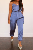 Peacock Blue Sexy Casual Solid Backless Spaghetti Strap Regular Jumpsuits