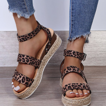 Leopard Print Casual Street Hollowed Out Split Joint Printing Opend Out Door Shoes