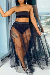 Black Solid Split Joint Strapless Plus Size Swimwear
