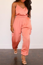 Pink Sexy Casual Solid Backless Spaghetti Strap Regular Jumpsuits